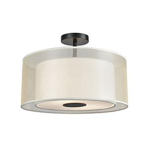 Ashland Matte Black 16-Inch Two-Light Semi-Flush Mount
