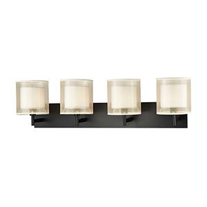 Ashland Matte Black Four-Light Bath Vanity
