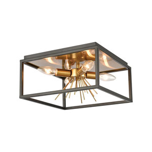 Spark Matte Black and Burnished Brass Four-Light Flush Mount