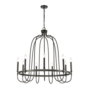 Wickshire Matte Black Nine-Light Chandelier