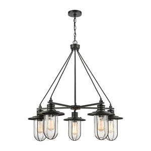 Lakeshore Drive Matte Black Five-Light Chandelier