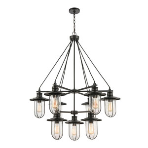 Lakeshore Drive Matte Black Nine-Light Chandelier