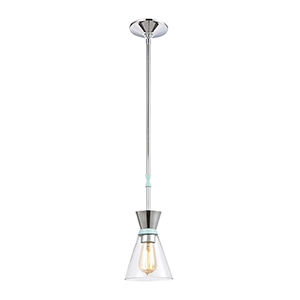Modley Polished Chrome and Pastel Aqua One-Light Mini Pendant