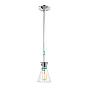 Modley Polished Chrome and Pastel Blue One-Light Mini Pendant