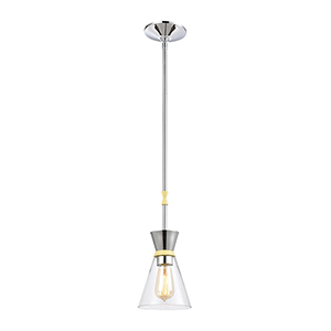 Modley Polished Chrome and Pastel Yellow One-Light Mini Pendant