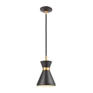Modley Matte Black and Brushed Brass One-Light Mini Pendant
