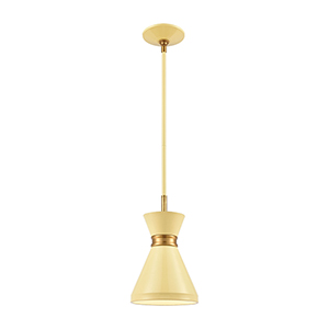 Modley Pastel Yellow and Brushed Brass One-Light Mini Pendant