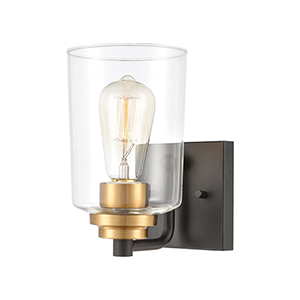 Robins Matte Black and Brushed Brass One-Light Vanity Light