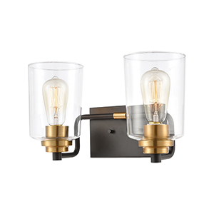 Robins Matte Black and Brushed Brass Two-Light Vanity Light