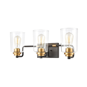 Robins Matte Black and Brushed Brass Three-Light Vanity Light