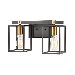 Cloe Matte Black and Brushed Brass Two-Light Vanity Light