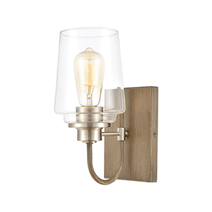 Bakersfield Light Wood and Satin Nickel One-Light Vanity Light