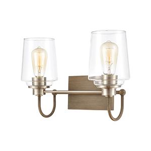 Bakersfield Light Wood and Satin Nickel Two-Light Vanity Light