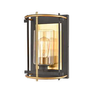 Millington Charcoal and Brushed Brass One-Light Wall Sconce
