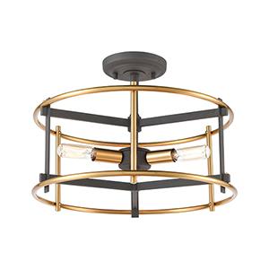 Millington Charcoal and Brushed Brass Three-Light Semi Flush Mount