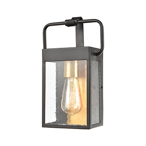 Knowlton Matte Black and Brushed Brass One-Light Seven-Inch Wall Sconce
