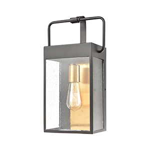 Knowlton Matte Black and Brushed Brass One-Light Wall Sconce