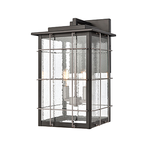 Brewster Matte Black and Weathered Zinc Two-Light Wall Sconce