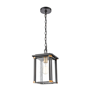 Vincentown Matte Black and Brushed Brass One-Light Outdoor Pendant