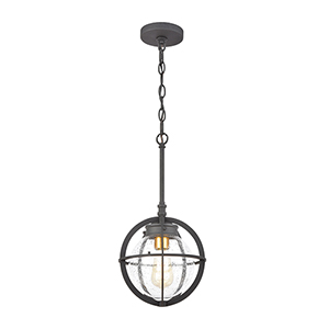 Davenport Charcoal and Brushed Brass One-Light Outdoor Pendant
