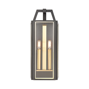 Portico Charcoal and Brushed Brass Two-Light Wall Sconce