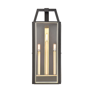 Portico Charcoal and Brushed Brass Three-Light Wall Sconce