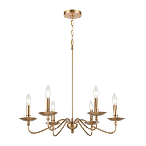 Wellsley Burnished Brass 25-Inch Six-Light Chandelier