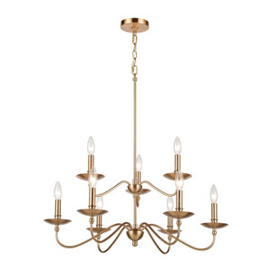 Wellsley Burnished Brass Nine-Light Chandelier