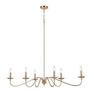 Wellsley Burnished Brass 47-Inch Six-Light Chandelier