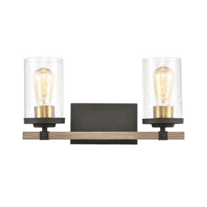 Geringer Charcoal and Burnished Brass Two-Light Bath Vanity