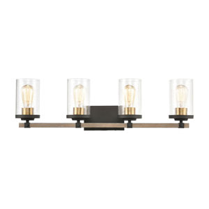 Geringer Charcoal and Burnished Brass Four-Light Bath Vanity
