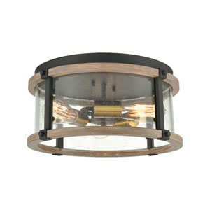 Geringer Charcoal and Burnished Brass Three-Light Flush Mount