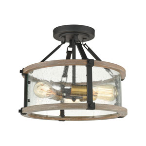 Geringer Charcoal and Burnished Brass Three-Light Semi Flush Mount