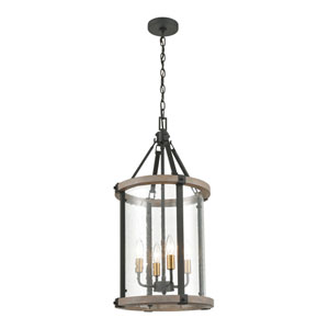 Geringer Charcoal and Burnished Brass 14-Inch Four-Light Pendant