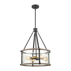 Geringer Charcoal and Burnished Brass 18-Inch Four-Light Pendant