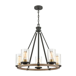 Geringer Charcoal and Burnished Brass Five-Light Chandelier