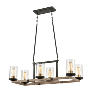 Geringer Charcoal and Burnished Brass Six-Light Island Chandelier