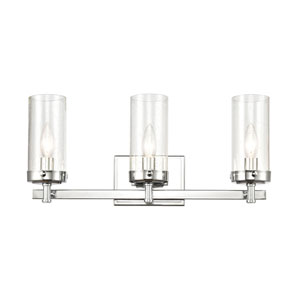 Melinda Polished Chrome Three-Light Bath Vanity