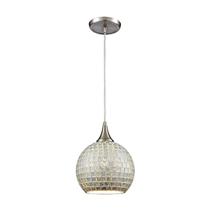 Fusion Satin Nickel Eight-Inch One-Light Mini Pendant with Silver Glass