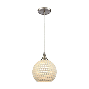 Fusion Satin Nickel Eight-Inch One-Light Mini Pendant with Frosted Glass