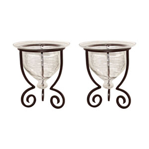 Templo Metal and Glass Candle Holder, Set of Two