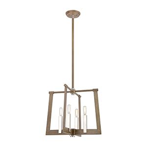 Light Wood and Satin Nickel Four-Light Pendant