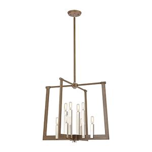 Light Wood and Satin Nickel Eight-Light 24-Inch Pendant
