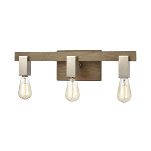 Axis Light Wood and Satin Nickel Three-Light Bath Vanity