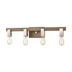 Axis Light Wood and Satin Nickel Four-Light Bath Vanity