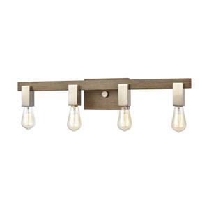 Axis Light Wood and Satin Nickel Four-Light Bath Vanity