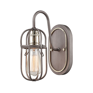 Weathered Zinc and Polished Nickel One-Light Vanity Light