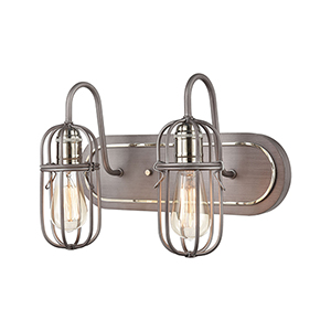 Weathered Zinc and Polished Nickel Two-Light Vanity Light