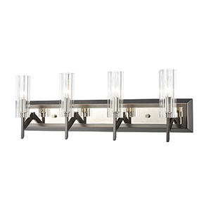 Aspire Black Nickel and Polished Nickel Four-Light Vanity Light