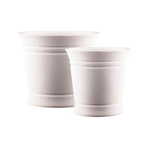 Country White Cachepot, Set of Two